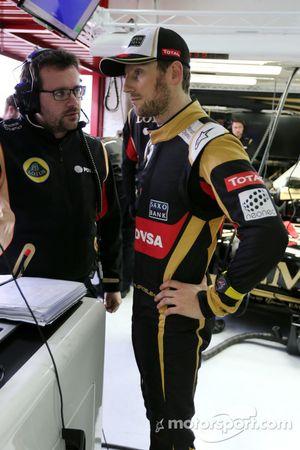 Romain Grosjean, Lotus F1 Team, und Julien Simon-Chautemps, Romain Grosjean, Renningenieur, Lotus F1