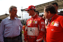 Piero Ferrari, Michael Schumacher and Jean Todt