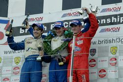The podium for race 1 of the British F3 International Series at Silverstone: 2nd placed Danilo Diran
