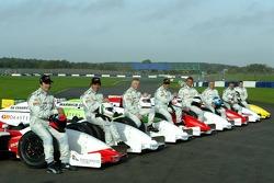 Emerson Fittipaldi, Andrea de Cesaris, Derek Warwick, Nigel Mansell, Christian Danner, Patrick Tambay, Riccardo Patrese and Stefan Johansson