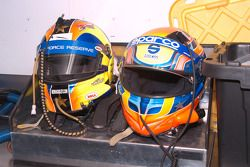 Memo Gidley and Michael McDowell's helmets drying off