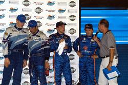 Podium: race winners Jorg Bergmeister and Christian Fittipaldi, Max Angelelli and Wayne Taylor