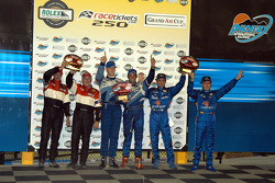 Podium: Butch Leitzinger and Elliott Forbes-Robinson, race winners Jorg Bergmeister and Christian Fittipaldi, Max Angelelli and Wayne Taylor
