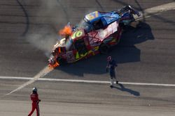 Mike Bliss and Steve Park walk away from their crash