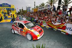 Daniel Sordo o celebra el título del JWRC 2005