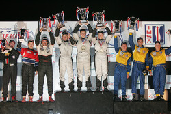 P2 podium: class winners Jon Field, Clint Field and Liz Halliday, second place Jamie Bach, Guy Cosmo and Elliott-Forbes Robinson, third place Mike Johnson, Bob Woodman and Georges Forgeois