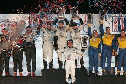 P2 podium: class winners Jon Field, Clint Field and Liz Halliday, second place Jamie Bach, Guy Cosmo