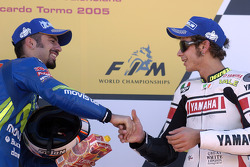 Podium: race winner Marco Melandri and Valentino Rossi