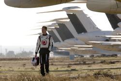 Alan van der Merwe walks the famous aircraft graveyard at the Mojave Airport