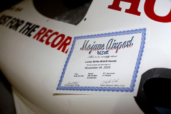 The Mojave Airport speed trap certificate sits proudly on the BAR Honda 007 Bonneville 400 record ca