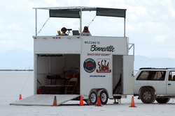 The Bonneville timing booth is a prominent annual landscape at the venue
