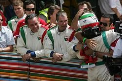 Salvador Duran celebrates podium finish