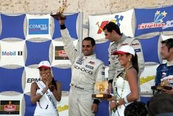 Podium: race winner Pedro de la Rosa with Juan Pablo Montoya and Roger Yasukawa