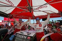 Rally winners François Duval and Sven Smeets celebrate