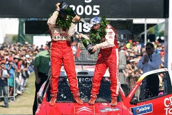 Podium: champagne for François Duval and Sven Smeets