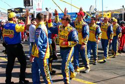 High fives for the Cheerios Dodge crew members
