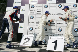 Podium: champagne for Edoardo Piscopo, Reed Stevens and James Davison