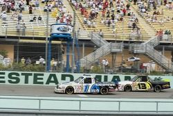 Ted Musgrave takes the checkered flag ahead of Johnny Sauter