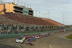 Green flag: Ryan Newman and Carl Edwards lead the field