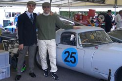 Marino and Dario Franchitti pose with a Jaguar Lightweight E-Type