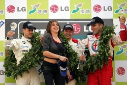 Championship podium: FIA World Touring Car 2005 champion Andy Priaulx with Dirk Muller and Fabrizio