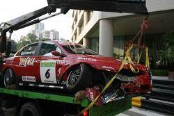 Wrecked car of Fabrizio Giovanardi