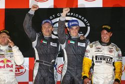 GT1 podium: class and overall winners Antonio Garcia and Christophe Bouchut celebrate