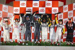 GT1 podium: class and overall winners Antonio Garcia and Christophe Bouchut, with Philipp Peter and Jamie Davies, and Bert Longin, Anthony Kumpen and Mike Hezemans