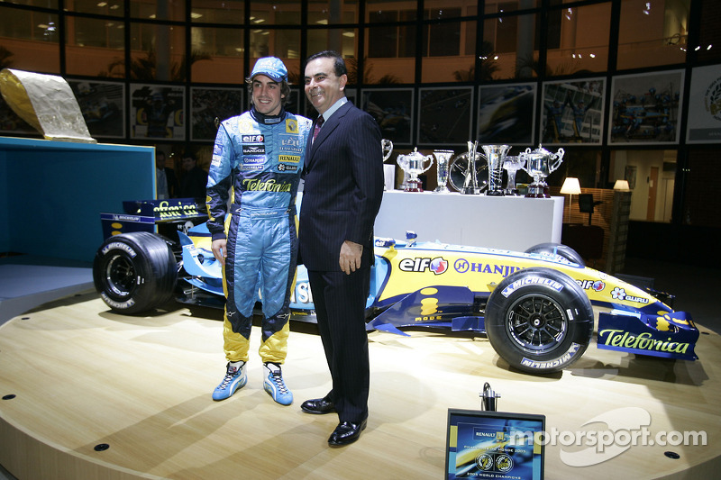 Renault chairman Carlos Ghosn with Fernando Alonso