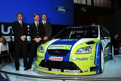 Ford Focus RS WRC 06 at Bologna Motor Show: Ford TeamRS director Jost Capito, BP-Ford World Rally Team director Malcolm Wilson and technical director Christian Loriaux with the new Ford Focus RS WRC 06 at Bologna Motor Show