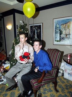 Kurt Busch surprises brother Kyle Busch as Kyle was playing Santa Claus for the children at the Ronald McDonald House