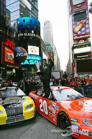 Tony Stewart celebrates in Times Square