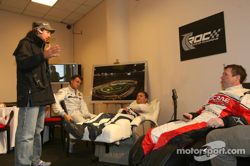 El organizador de la Carrera de Campeones Fredrik Johnsson con Jean Alesi, David Coulthard y Colin M