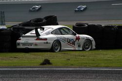 First turn accident by #14 Autometrics Motorsports Porsche GT3 Cup: Leh Keen, Cory Friedman, Steve J