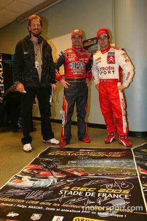Organizador de la Carrera de Campeones, Fredrik Johnsson con Jeff Gordon y Sébastien Loeb