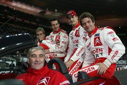 World Rally champions Sébastien Loeb and Daniel Elena, with Junior World Rally champions Daniel Sord