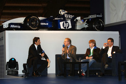 Prof Burkard Goeschel (Board member for Development BMW Group), Nick Heidfeld BMW WilliamsF1 Team driver 2005 and Dr Mario Theissen (BMW Motorsport Director) interviewed by Sebastian Hellmann