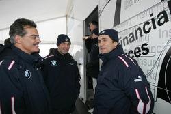 Dr Mario Theissen (BMW Motorsport Director) with Jorg Muller and Alex Zanardi