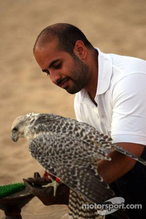 Sheikh Maktoum Hasher Maktoum Al Maktoum with a falcon