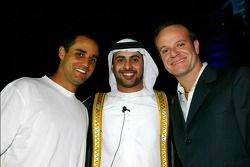 Dubai welcome party: Juan Pablo Montoya, Sheikh Maktoum Hasher Maktoum Al Maktoum and Rubens Barrichello