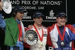 Podium: race winner Neel Jani with Enrico Toccacelo and Tomas Enge