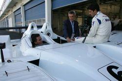 Sascha Maassen, PCNA President Peter Schwarzenbauer;Lucas Luhr with the Porsche RS Spyder-LMP2