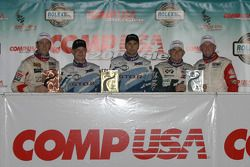 GT podium: class winner Jan Magnussen and Paul Edwards, with Joey Hand and Justin Marks, and Randy P