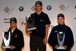 Podium : le vainqueur Marco Holzer avec Sébastien Buemi et Nico Hülkenberg