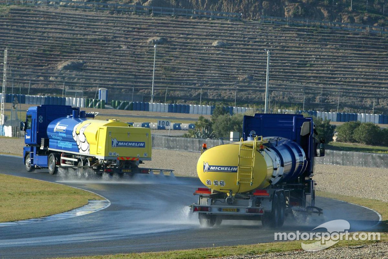 9. Water trucks wet the track for Michelin wet testing