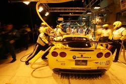 Entraînement d'arrêt au stand pour la Corvette Racing Corvette C6-R n°64 : Olivier Gavin, Olivier Beretta, Jan Magnussen