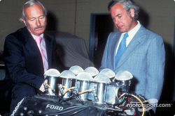 Colin Chapman and Keith Duckworth with the 200th Ford Cosworth DFT engine