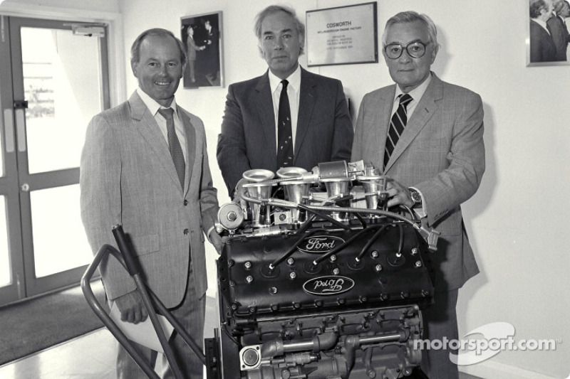 400th Ford Cosworth DFV F1 Engine: Mike Costin, Keith Duckworth, Walter Hayes