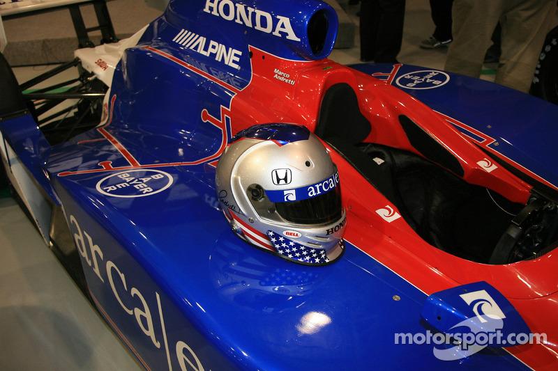Marco Andretti's helmet, nearly a mirror image of his father's, on the ArcaEx Dallara Honda Firestone