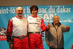 Présentation de l'équipe Nissan à Dessoude: Jacky Dubois, Jun Mitsuhashi et Akira Ogushi